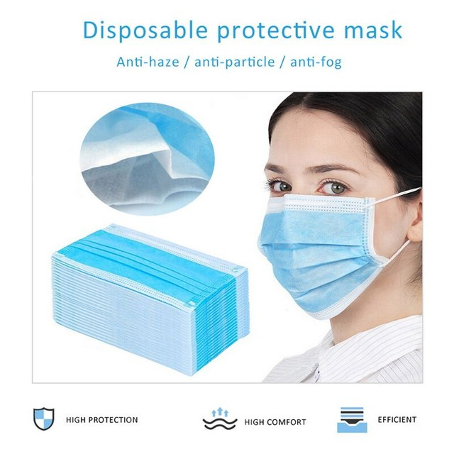 50pcs Non Woven Disposable Face Respirator Mask 3 Layer Earloop Anti-Dust Bacteria Proof Flu Safe Protective Mouth Mask 3