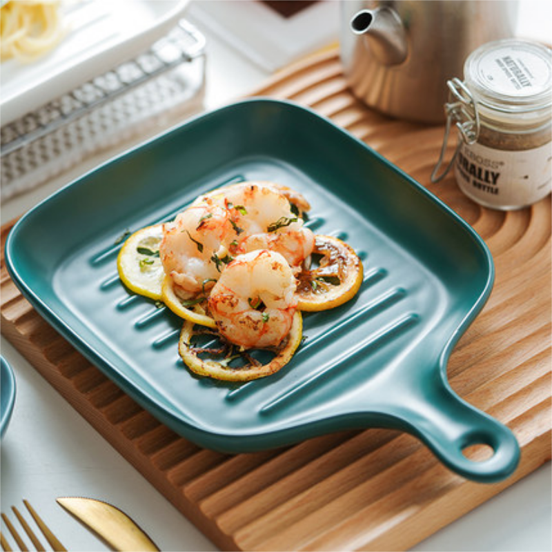 Nordic tableware creative baking tray ceramic western dish home steak pasta west tableware with handle tray