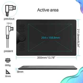 HUION HS610 Graphics Drawing Tablets Digital Battery-Free Pen Tablet Android Phone Tablet with Tilt OTG for Windows Mac OS