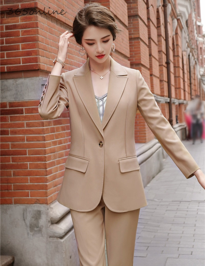Newest Arrival Formal Women Business Suits With 2 Piece Set Pencil Pants And Jackets Coat For Ladies Office Work Wear Blazers