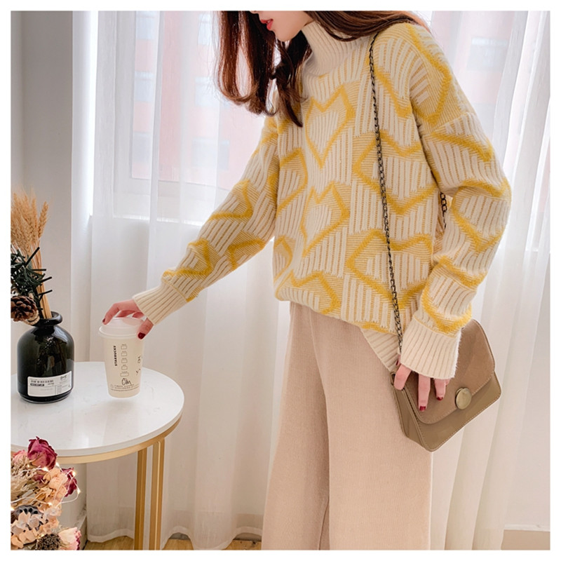 Spring Winter Women Long Sleeve Knit Pullover And Sweaters Half Turtleneck Sweet Heart Knit Jumpers Loose Jumper Female