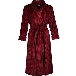 Image 3 - 女性の冬プラスサイズロングフランネルバスローブピンク暖かい着物バスローブセクシーな花嫁介添人ガウン男性ローブナイトパジャマ