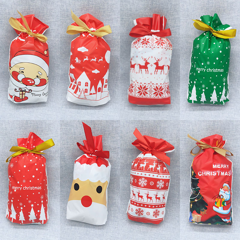 5/10pcs 23*15cm Plastic Red Green Merry Christmas Candy Bag Santa Claus Gift Bag With Ribbon New Year Navidad Party Xmas Decor