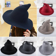 2019 Newest Hot Women Modern Witch Wool Hat Foldable Costume Sharp Pointed Felt Halloween Party Hats Warm Cap