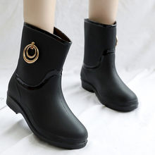 Winter Shoes Woman Slip On Mid-calf Snow Boots Women Metal Ring Botas Mujer Invierno 2019 Pure Black Ботинки Женские Зимние #20(China)