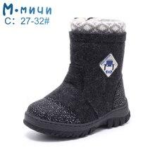 Mmfreira feltro foots crianças botas de inverno para menino 2019 botas de inverno quente tamanho 23 32 ml9438