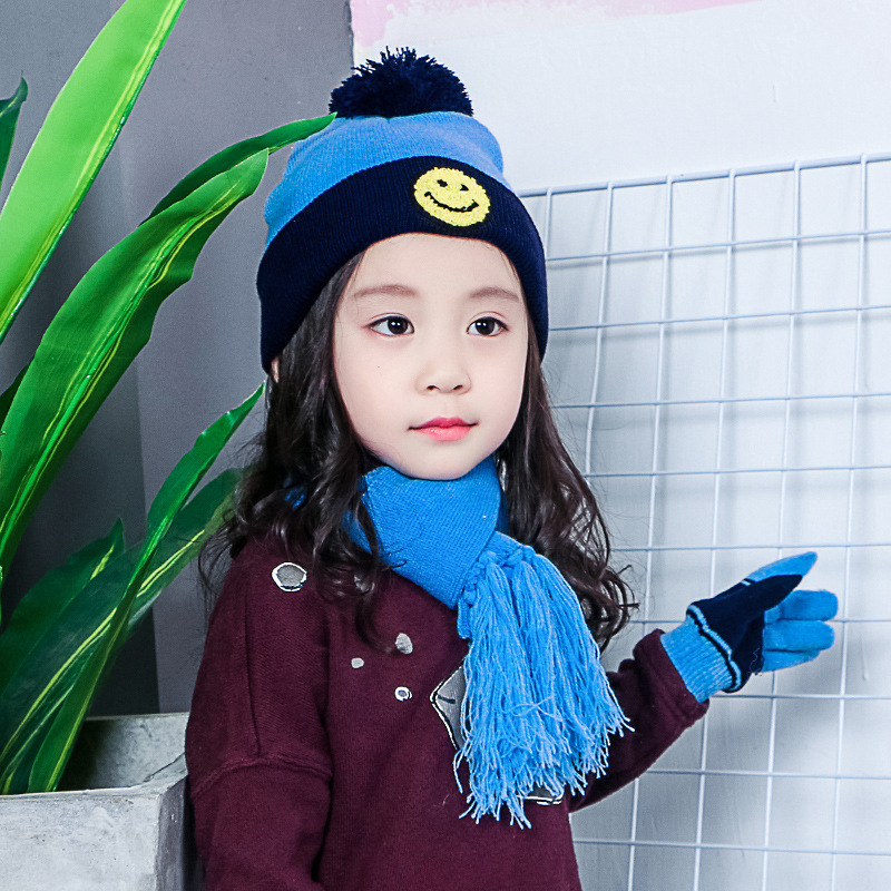 Fashion Patchwork Colors Winter Hat And Gloves Set For Boys Girls Knitted Hat With Scarf Warm Knitted Set Children Caps Kawaii