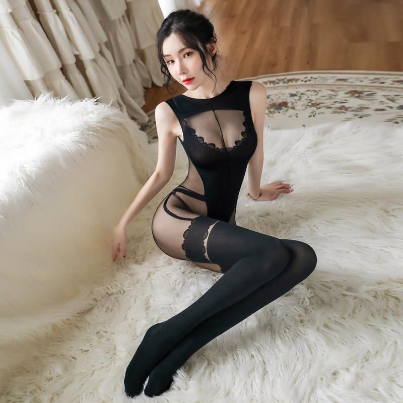 Black Sexy Transparent Bodystockings Female Erotic Lingerie Sleeveless Nylon Tights Bodysuit Women Porn Sex Underwear Nightwear