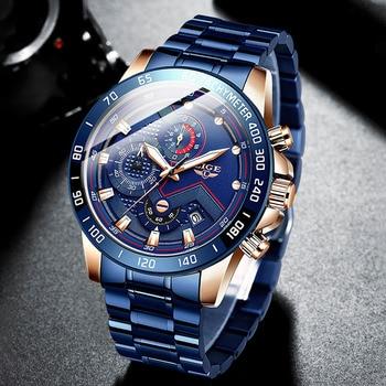 цена Relogio Masculino 2020 Mens Watches LIGE Top Brand Luxury Chronograph Quartz Clock Blue Watch Men Waterproof Wrist Watch HARDLEX онлайн в 2017 году