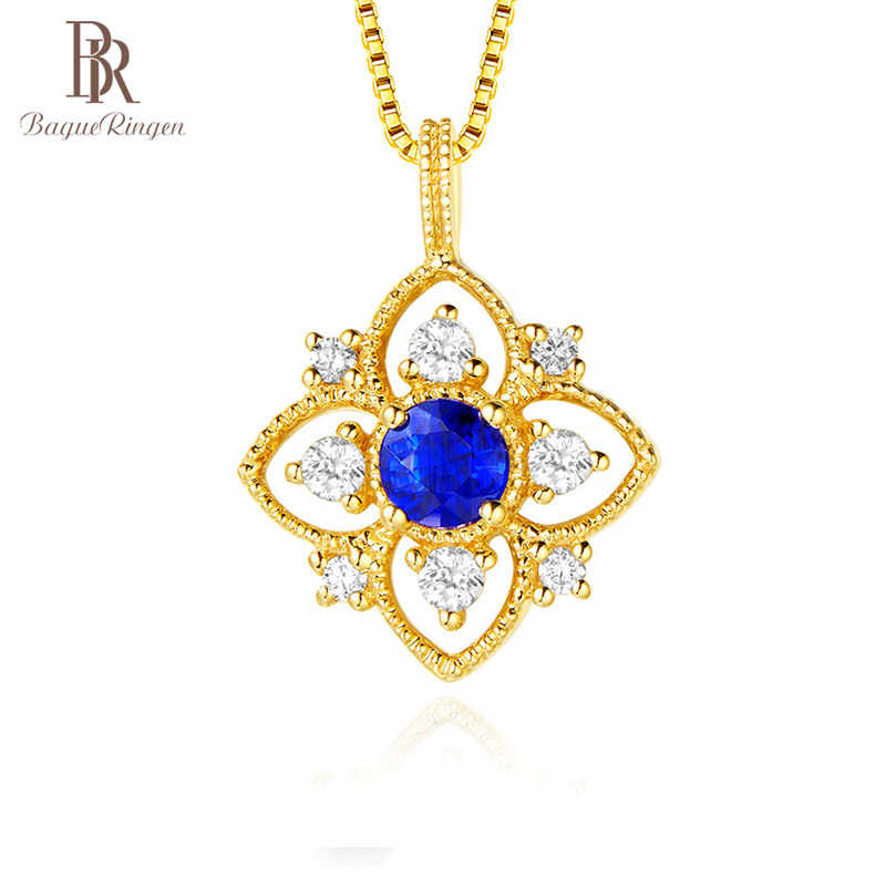 Bague Ringen Women real silver 925 necklace jewelry yellow gold color with round shape sapphire gemstone zircon wedding party