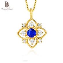 Bague Ringen mujeres plata real 925 collar joyería color oro amarillo con forma redonda zafiro piedras preciosas circón boda fiesta
