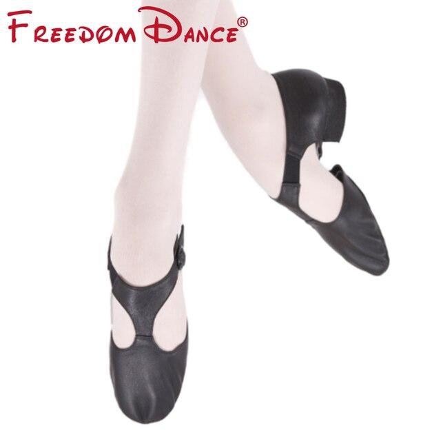 Zapato de Ballet elástico de cuero genuino para mujer, zapatos de baile de Jazz, sandalias de baile para profesores, calzado de punta