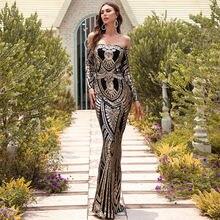Золотое/Серебряное платье для выпускного вечера с длинными рукавами
