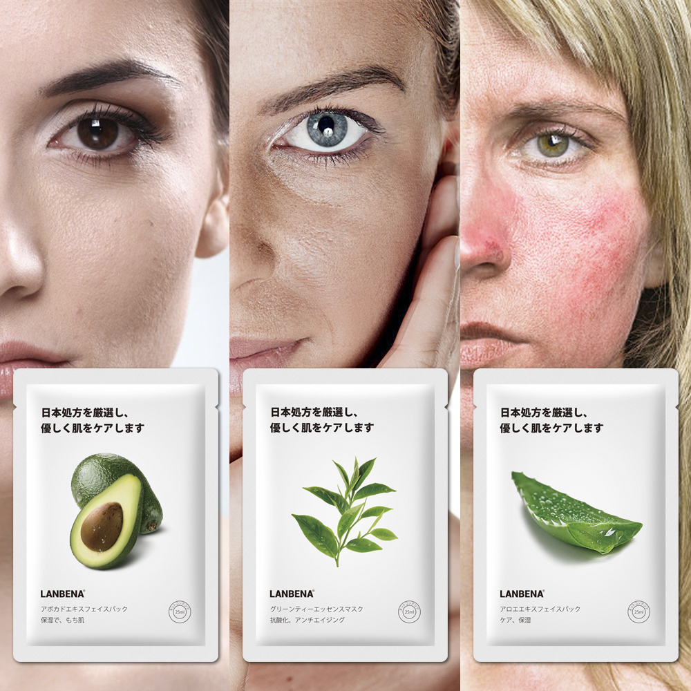 LANBENA Facial Mask Fruit Face Mask Whitening Moisturizing Water Locking Plant Extract Skin Care Oil Control Advanced Formula