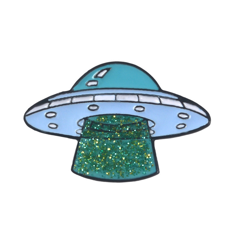 Cute UFO Abduction Enamel Pin Brooch Backpack Hat Badge Enthusiast Gifts Cartoon