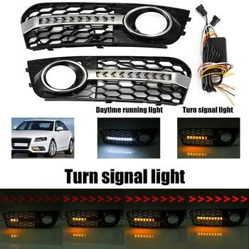 Honeycomb Hex Mesh Fog Light Cover Grille Grill with Flowing Led Turn Signal Light Daytime Running Light for A-u-d-i A4 B8 2009
