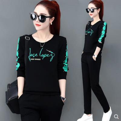 Women's WOMEN'S Suit Spring And Autumn 2019 New Style Korean-style Fashion Large Size Casual Sports Clothing Hoodie Two-Piece Se
