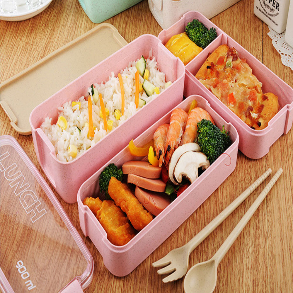 3 Layers Lunch Box Healthy Material Wheat Straw Bento Boxes Microwave Dinnerware Food Storage Container 900ml Student Lunchbox