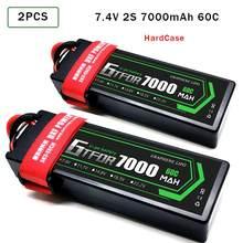 GTFDR Lipo Battery 2pcs 7.4V 5200mah 6500mAh 7000mAh 50C 60C HardCase Bateria For Buggy Truggy Evader BX trx4 SCX10 RC SUV
