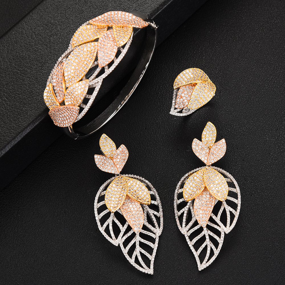 missvikki High Quality Luxury Shinning Flower Leaf Women Wedding Naija Bridal Cubic Zirconia Necklace Dubai Dress Jewelry Set