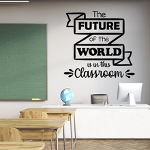 Classroom Wall Decal Quotes The Future Of World Is In This School Art Vinyl Sticker SK44