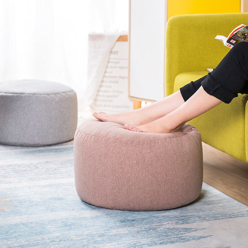 Small Round Bean Bag Sofa Cover Waterproof Game Bed Chair Seat Bean Bag Solid Color Lazy Chair Sofa Cotton Linen Footstool WF919