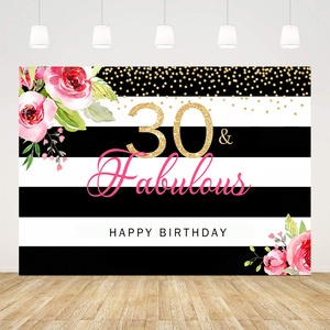 Feliz aniversário fabuloso festa decoração preto e branco listra fundo para estúdio de foto sobremesa mesa flor mostrar banner