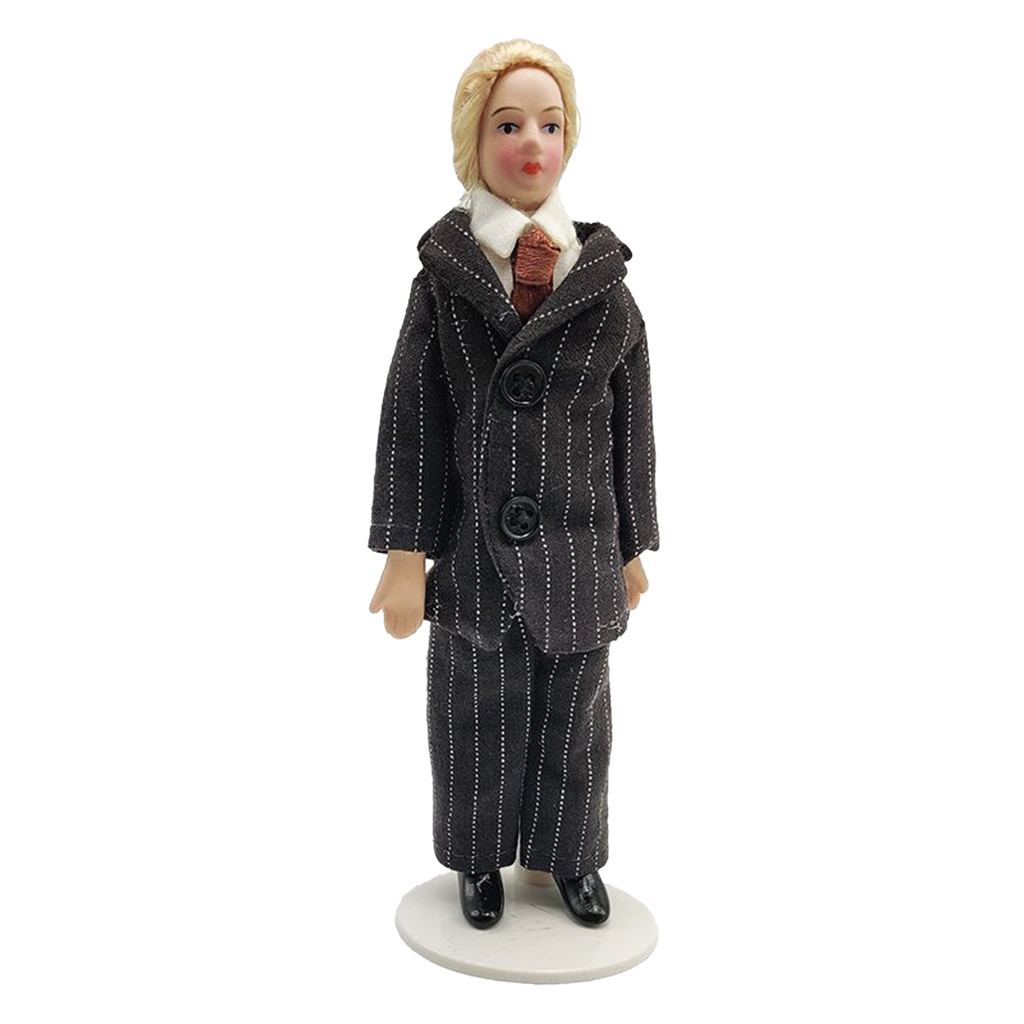 1/12 puppenhaus Miniatur Porzellan Puppen Mann In Streifen Anzug Decor Kinder