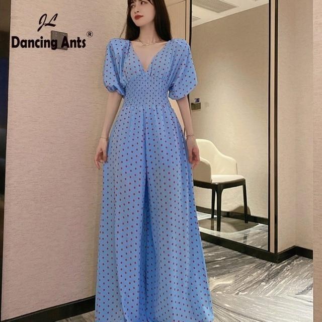 polka dot High Waist V-neck Chiffon Skinny Elegant Bodysuit 1