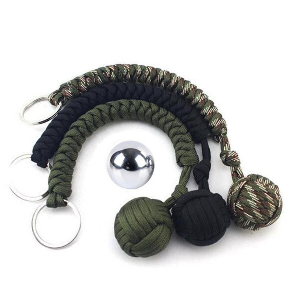 Tainless Steel Ball Pendant Parachute Cord Keychain Key Ring Survival Kits Outdoor Climbing Camping Umbrella Rope