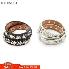 Fever&Free Hot Sale Women Punk Stud Bracelets Bangles Black Mint Green Multilayer Leather Rock Femme Jewelry