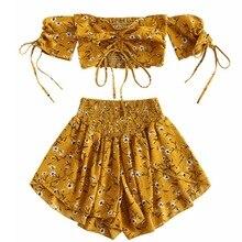 Off Shoulder Cinched Floral Women Set Summer Slash Neck Short Sleeves Crop Top High Waist Shorts Beach Boho Suits