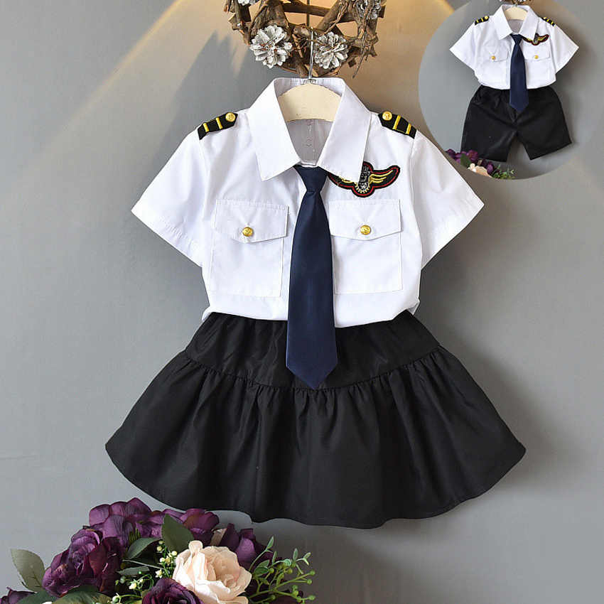 Japanese Style Primary School Student Uniform Pilot Navy Cosplay Costumes Clothing Set Team Cheerleader Dance Performance