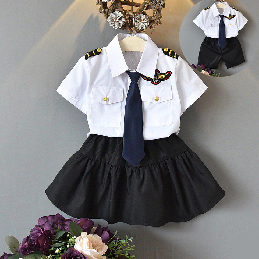Japanese Style Primary School Student Uniform Pilot Navy Cosplay Costumes Clothing Set Team Cheerleader Dance Performance