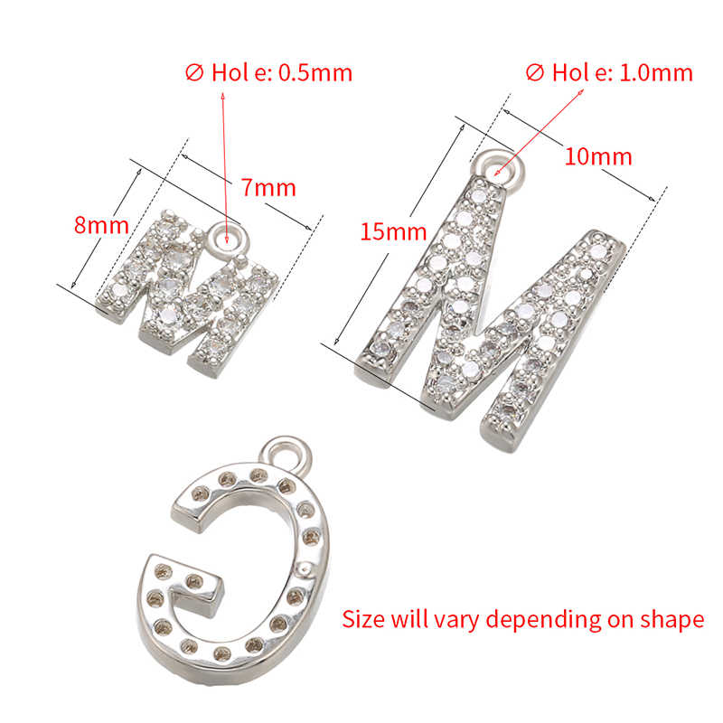 ZHUKOU 7x8mm 26 di colore argento lettera di cristallo del pendente per le donne collana orecchini accessori di gioielli che fanno modello: VD594