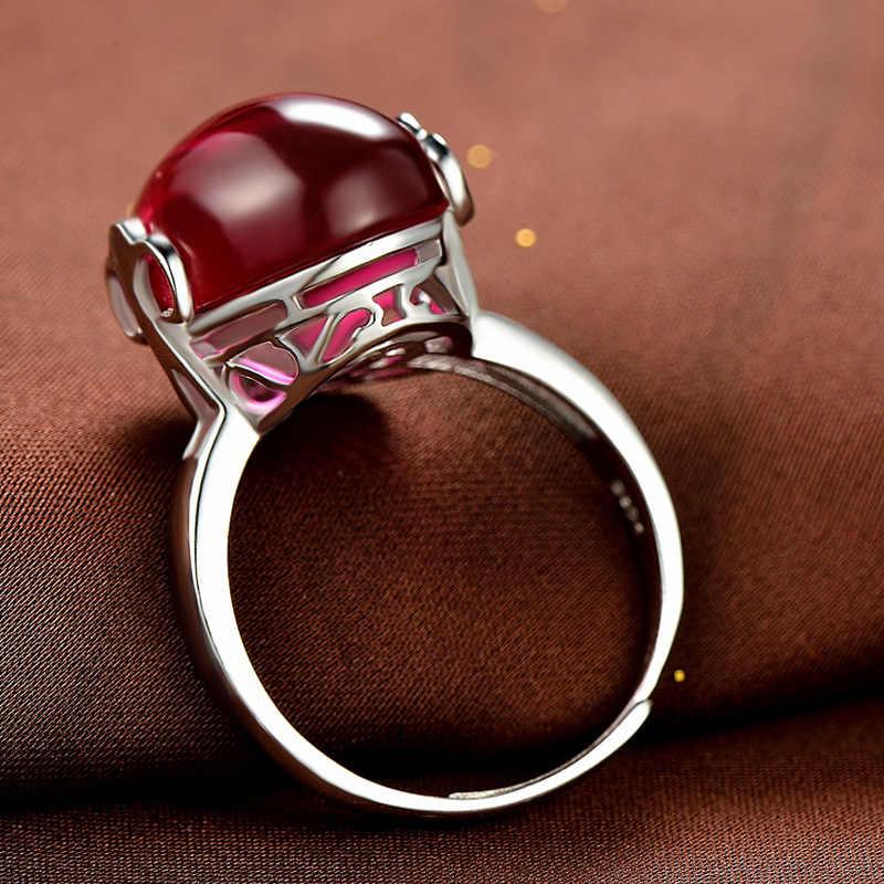Đồng hồ Nữ Ngọc Đỏ Có Thể Điều Chỉnh Vòng Thật 100% Bạc 925 Đính Hôn Cho Nữ, Nhẫn Nữ Cao Cấp Cưới Ban Nhạc Nhẫn