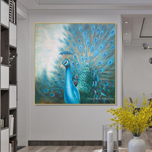 Original peacock decoration painting hand painted canvas oil animal blue wall art Home office decor cuadros abstractos