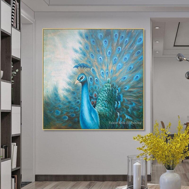 Originele pauw decoratie schilderen handgeschilderde canvas olieverf dier blue wall art Home office decor cuadros abstractos