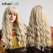 Inhaircube Ombre בלונדיני ארוך גלי חום עמיד סינטטי שיער Weave פאות לנשים להשתמש וקוספליי משלוח חינם
