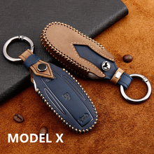 Leather Car Key Case Cover Shell Storage Bag Protector for Tesla Model S 3 X  key cover car styling