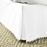 Free Shipping Hot Sale Hotel Bed Skirt Pompon tassel Colors Cotton Fabric for King/Queen/Full/Twin Size With 14 Drop Hotel Line