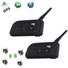 2 adet EJEAS V4 Pro 1200M 4 Riders motosiklet Bluetooth kask interkom kulaklık Unicador kablosuz interkom FM radyo ile