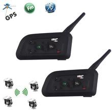 2PCS EJEAS V4 Pro 1200M 4 Riders Motorcycle Bluetooth Helmet Intercom Headset Unicador Wireless Interphone With FM Radio