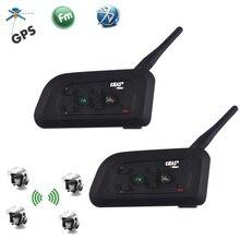 2PCS EJEAS V4 Pro 1200M 4 Riders Motorrad Bluetooth Helm Intercom Headset Unicador Drahtlose Sprech Mit FM Radio