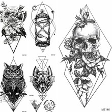 Black Death Skull Temporary Tattoos Sticker Fake Geometric Flower Owl Wolf Tattoos Adult's Fashion Waterproof Body Art Arm Tatoo(China)