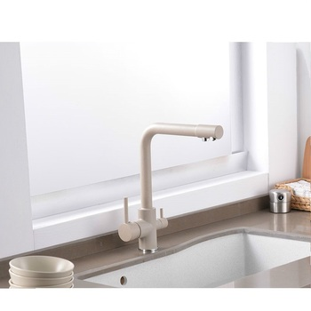 Filtered Kitchen Faucet Water Purification Brass 360 Degree Rotation Dual Sprayer Water Tap Dual Handle Kitchen Sink Tap sognare chrome brass kitchen faucet 3 way water tap kitchen sink mixer tap 360 degree rotation dual handle torneira para cozinha