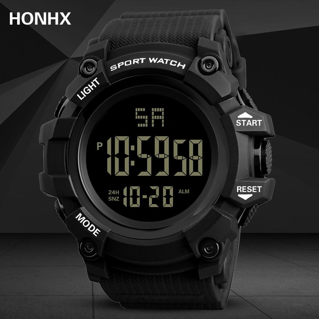 HONHX Luxury Electronic Watch Men Rubber Digital Multifunction Sport LED Display Waterproof наручные часы Outdoor Wrist Watch