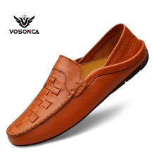 Vosonca Genuine Leather Men Casual Shoes 2019 New Loafers High Quality Moccasins Breathable Driving Size 37-46