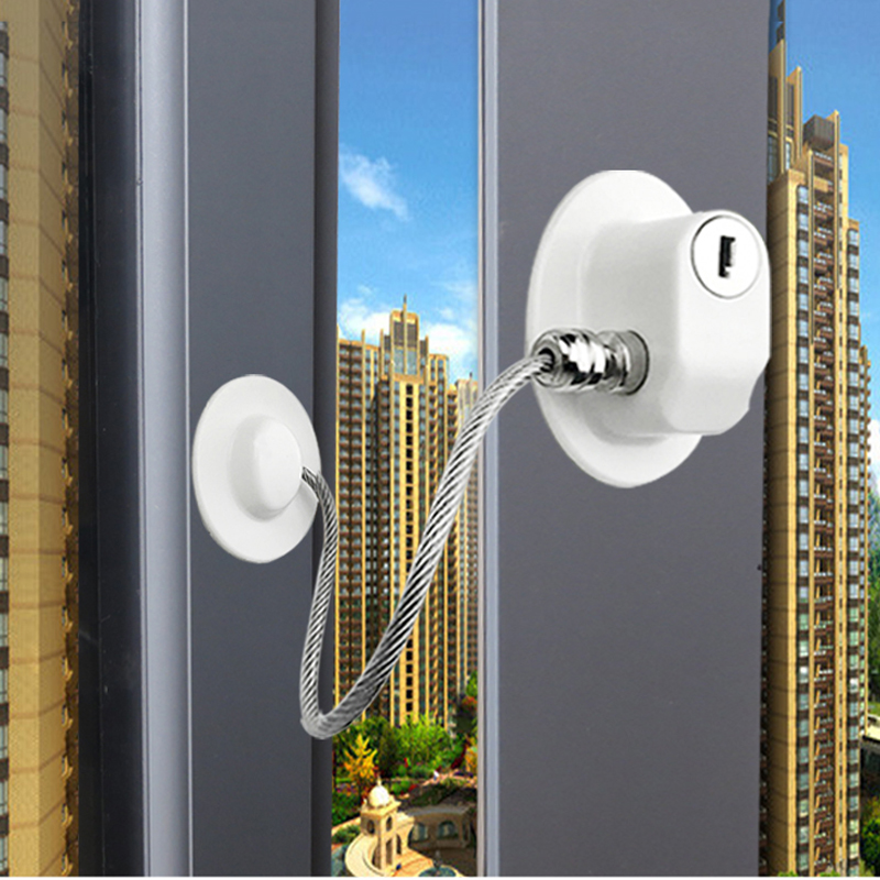 1 Pc Child Protection Window Refrigerator Lock With Stainless Steel Key Cylinder Baby Safety Window Stop Without Punching