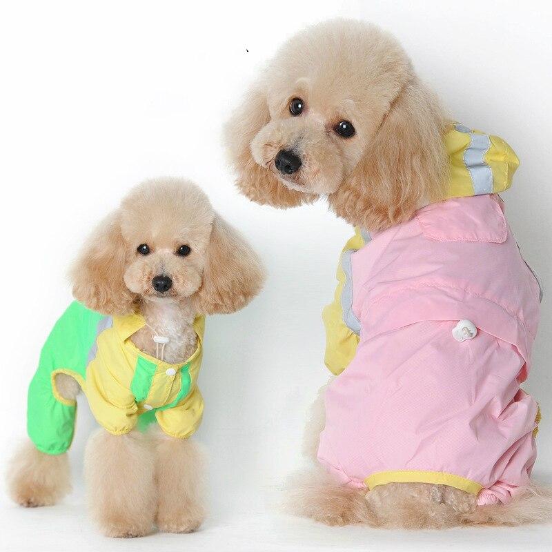Новый четырехногий дождевик для домашних животных и модный ветрозащитный непромокаемый четырехногий костюм для маленьких и средних собак